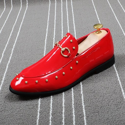 Patent Leather Slip On Rivet Dress Shoes for Men