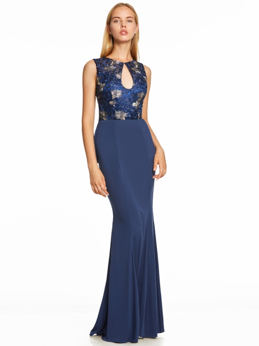 Scoop Neck Backless Ruffles Mermaid Evening Dress