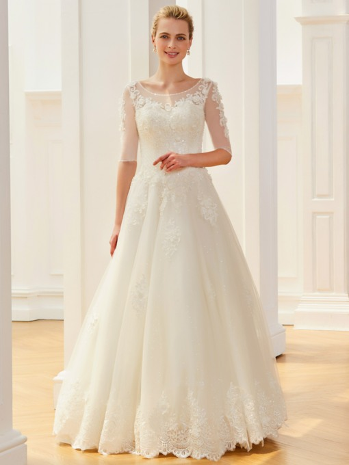 Scoop Neck Half Sleeves Beading Wedding Dress