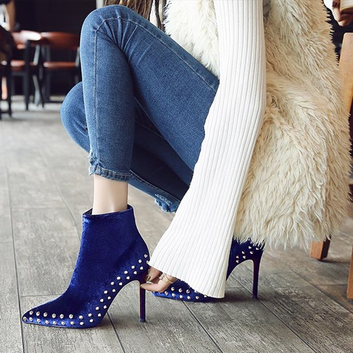 Velvet Boots Rivet Solid High Heel Shoes for Women