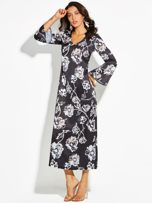 Black Bell Sleeve Flowers Pattern Vacation Women's Maxi Dress