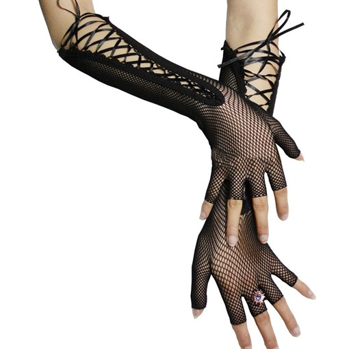 Rhinestone Fishnet Sexy Dancing Party Fingerless Gloves