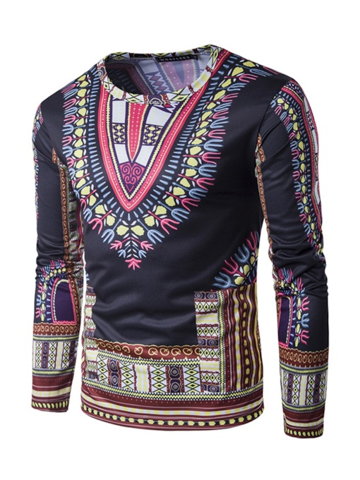 Dashiki Round Collar Slim Fit Men's Long Sleeve T-Shirt