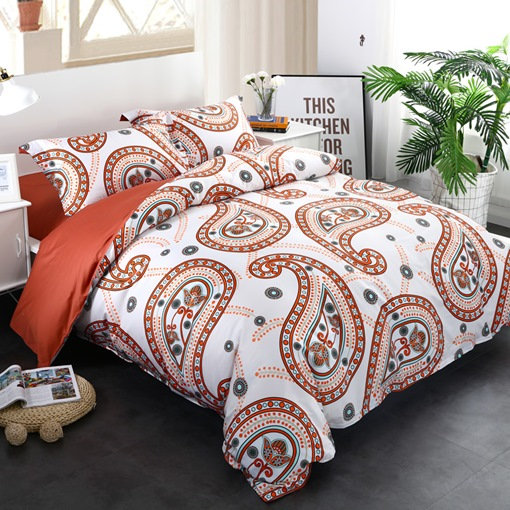 Orange Floral Paisley Pattern Exotic Style 4-Piece Cotton Bedding Sets