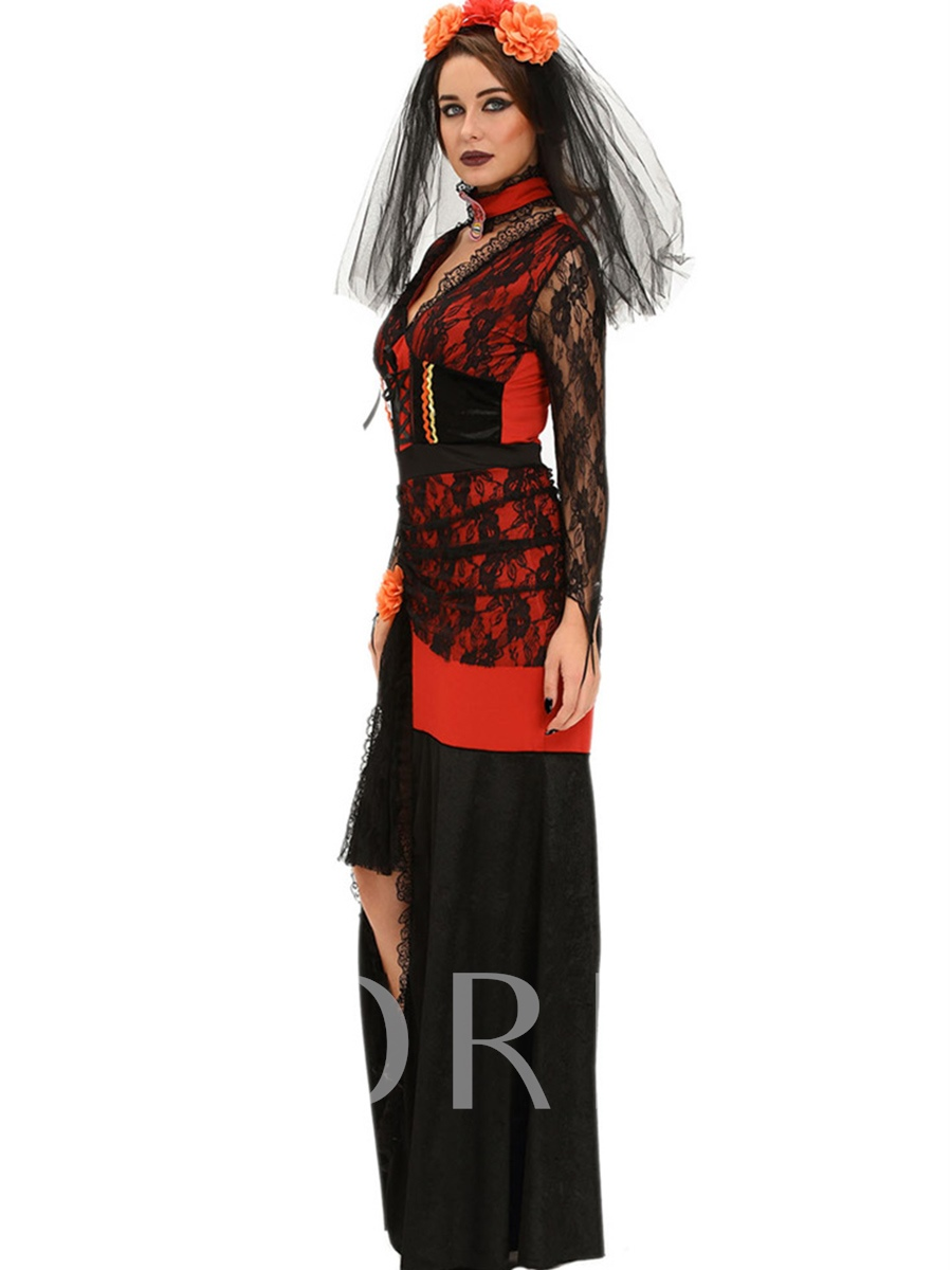 Lace Patchwork Long Sleeve Witch Costume