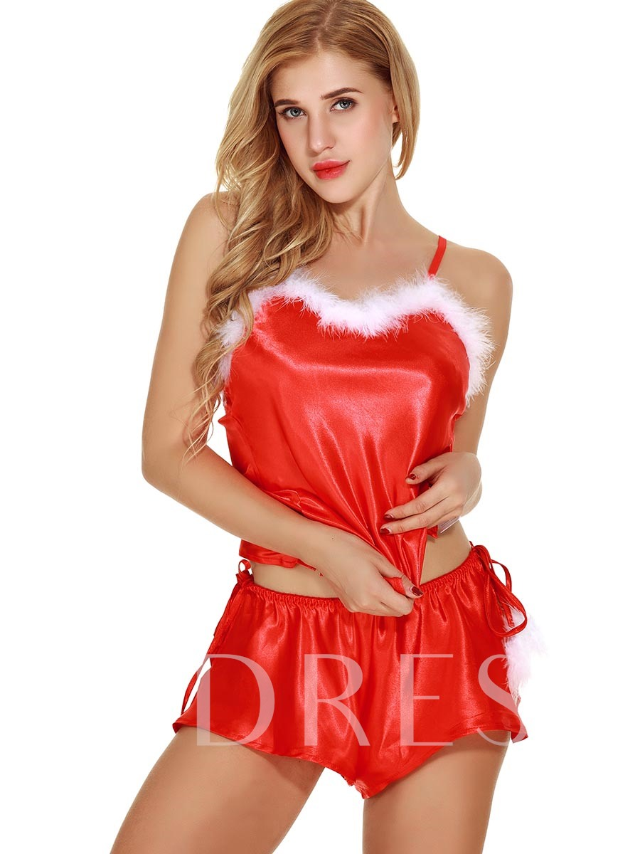 Sleeveless Red Satin Strap Suits Women Costume