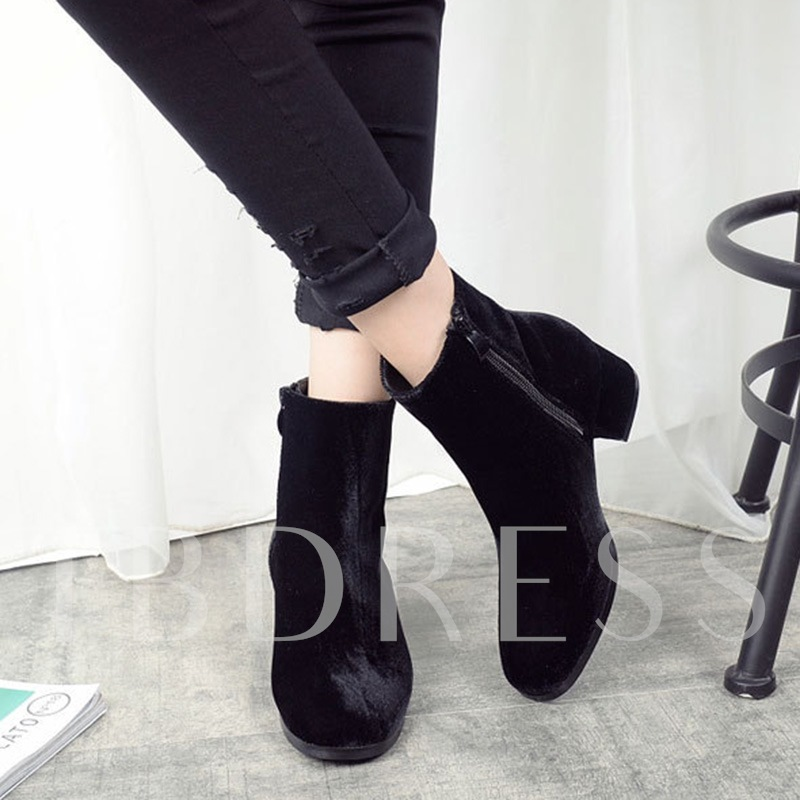 Glossy Suede Chunky Heel Zipper Ankle Boots for Women