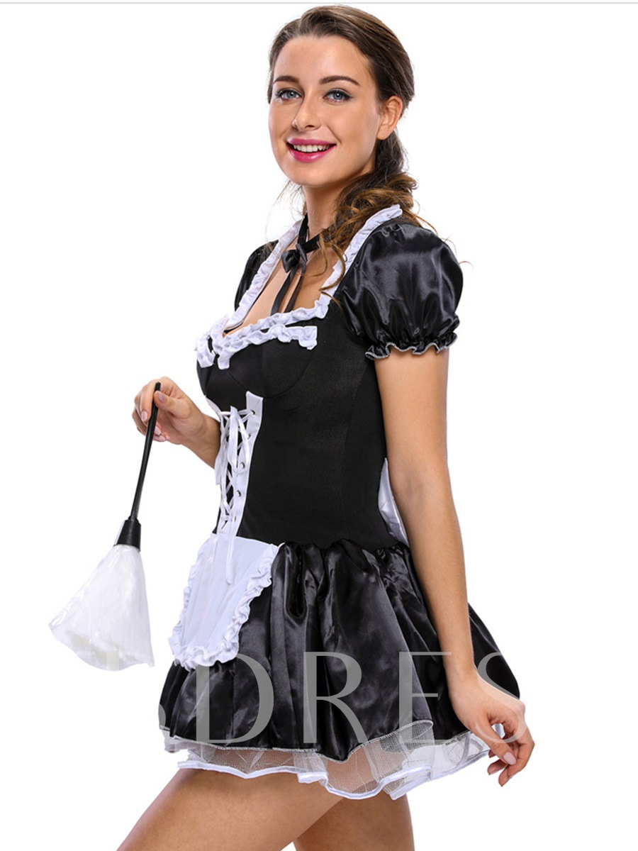 French Sexy Lace-Up Saucy Maid Costume