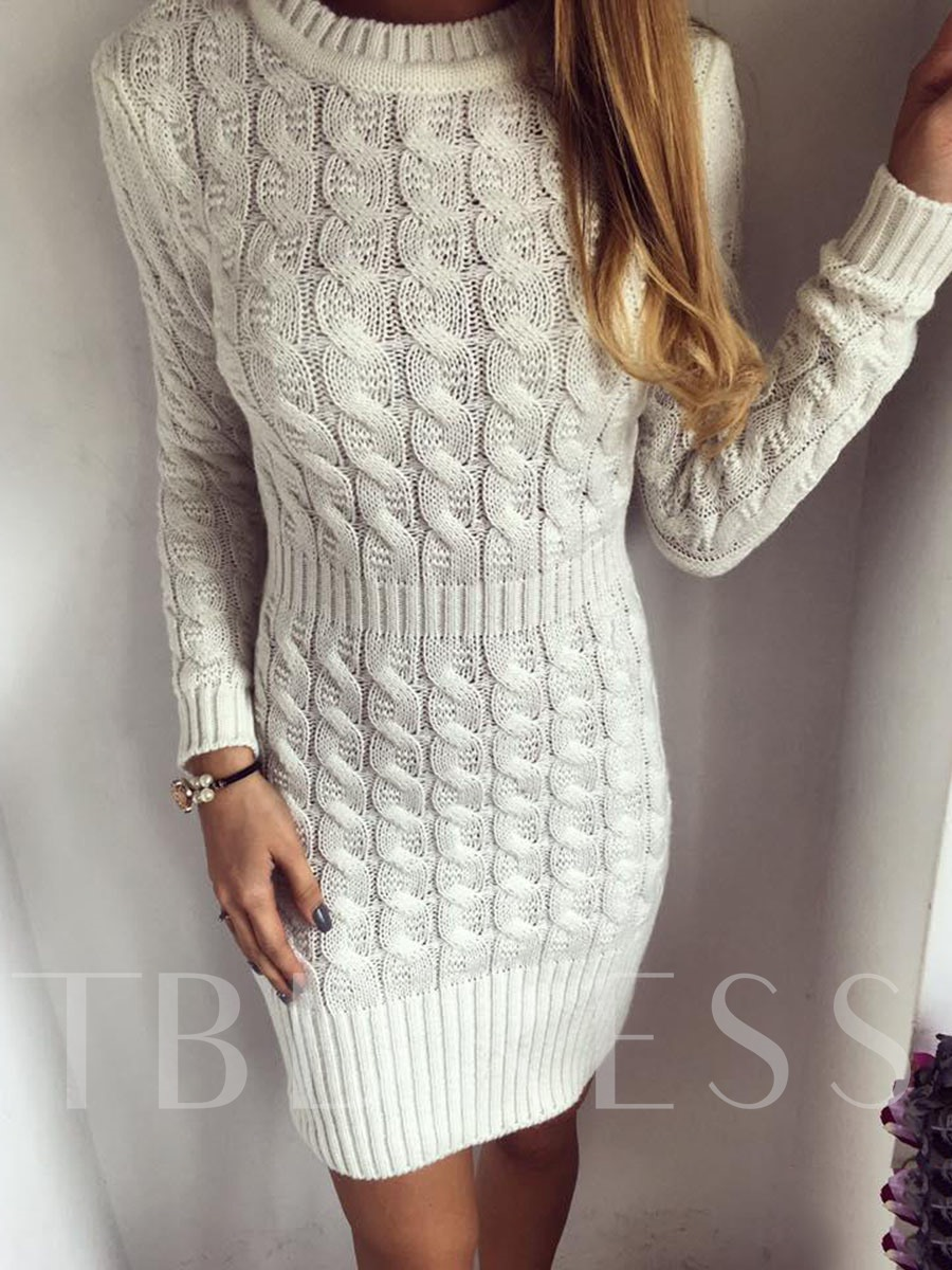 Buy Solid Color Long Sleeve Women's Sweater Dress, Spring,Fall,Winter, 13013877 for $32.99 in TBDress store