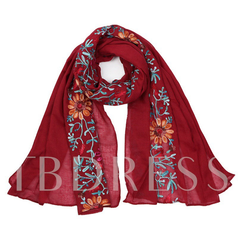 Embroidery Cotton Linen Sunflower Scarfs