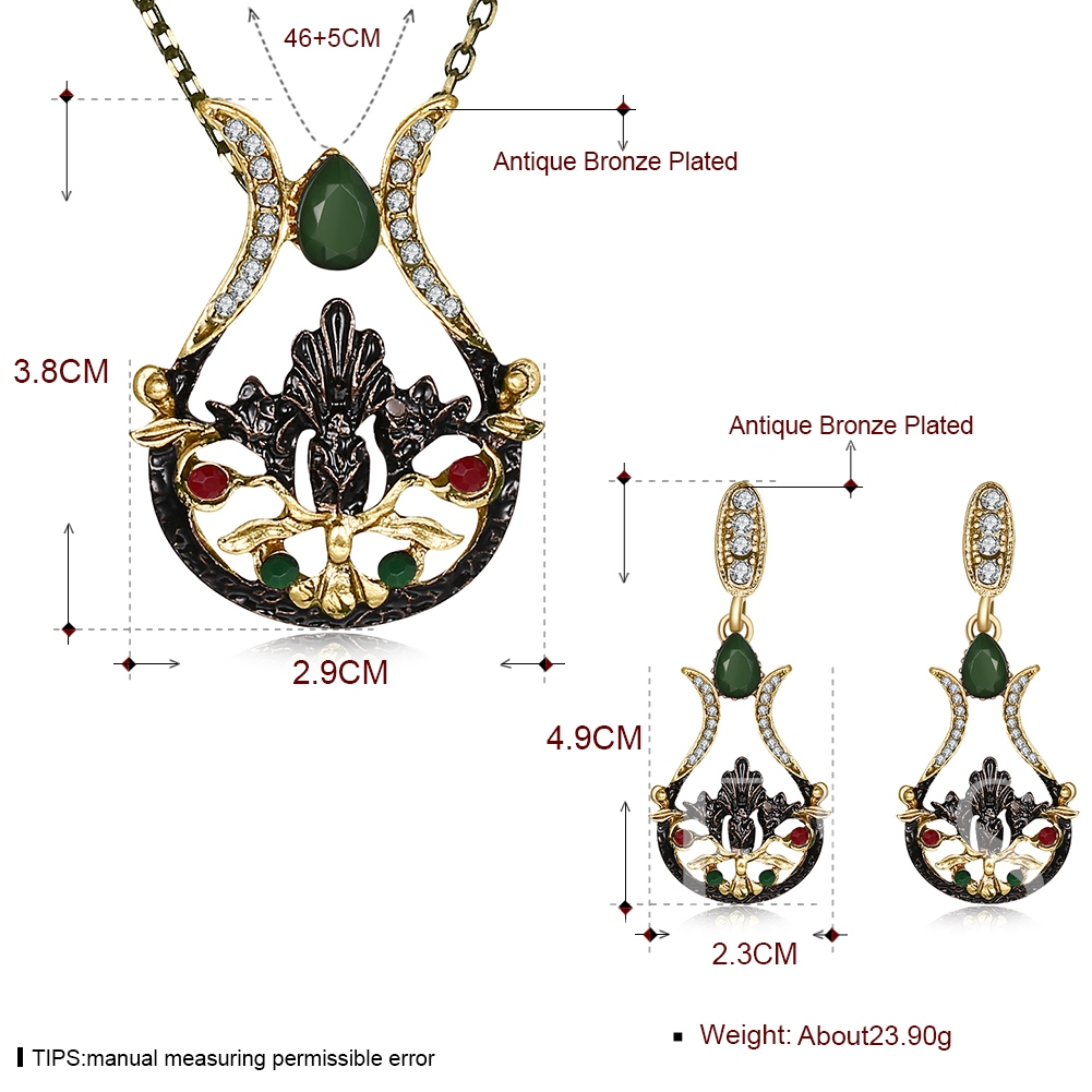 Coppering Hollow Out Diamante Zircon Inlaid Jewelry Sets