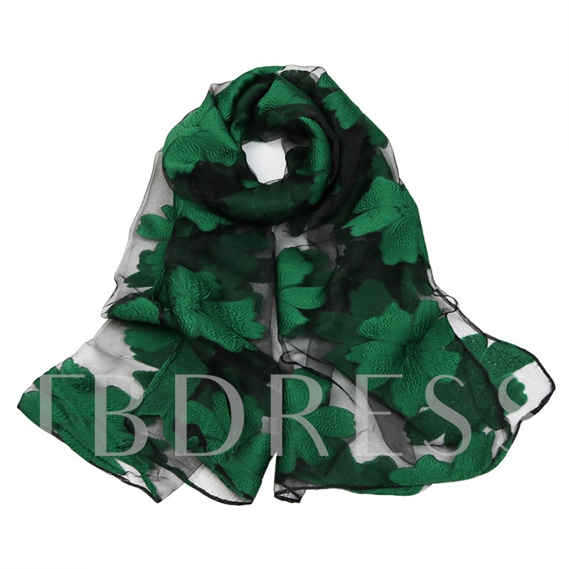 Organza Embroidery Floral Korean Style Scarfs