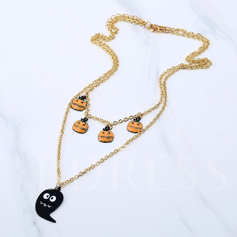 Halloween Mouth Pumpkin Funny Face Double Necklace