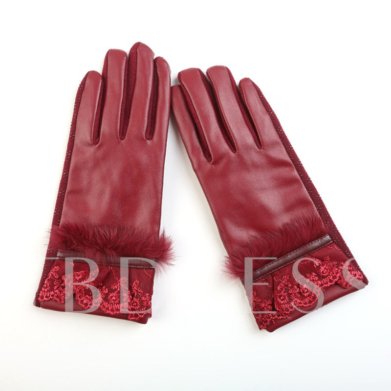 Keep Warm Artificial Leather Ventilate Lace Gloves