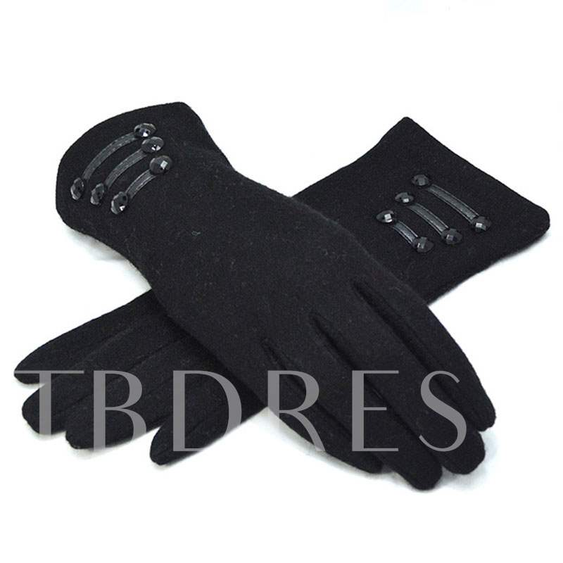 Artificial Leather Rope Rivets Keep Warm Gloves