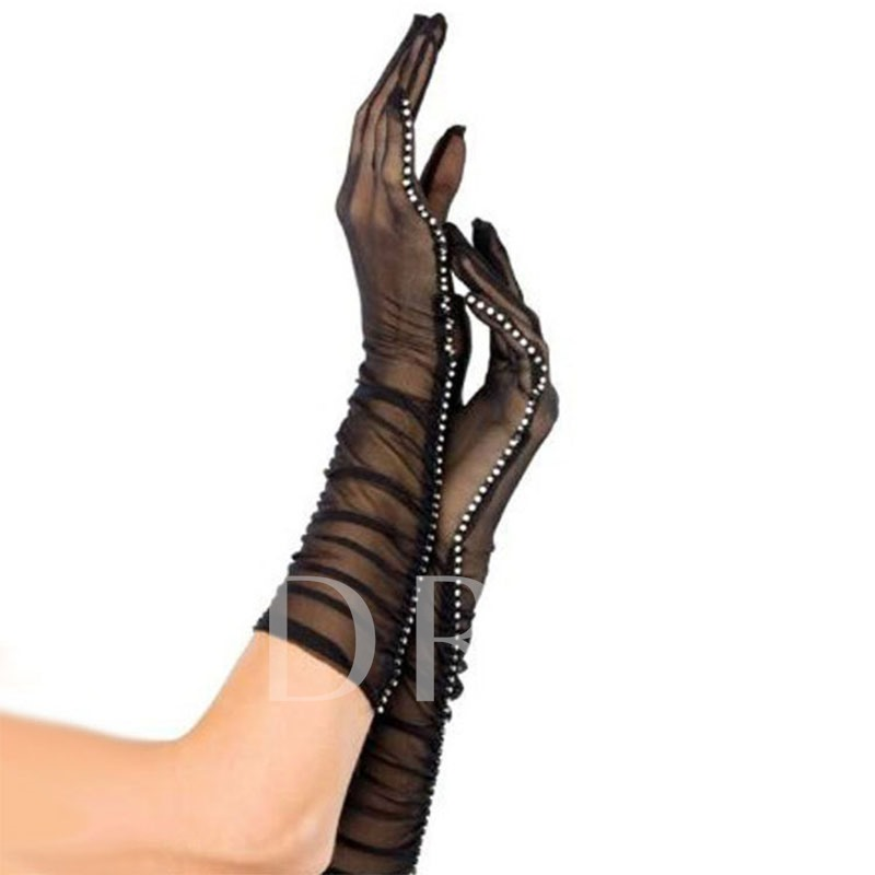 Rhinestone Lace Transparent Sexy Gloves