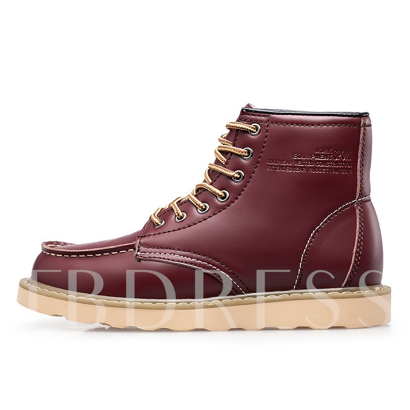 Lace Up Plush Sewing Men's Ankle Boots Winter Shoes