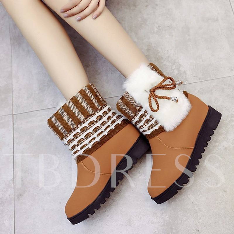 Warm Plush Lace Up Height Increasing Platform Snow Boots for Women