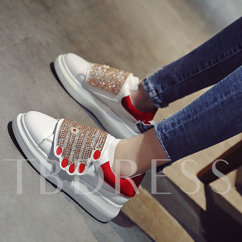 Hands Shaped Sequin Rhinestone Color Block Sneakers for Women