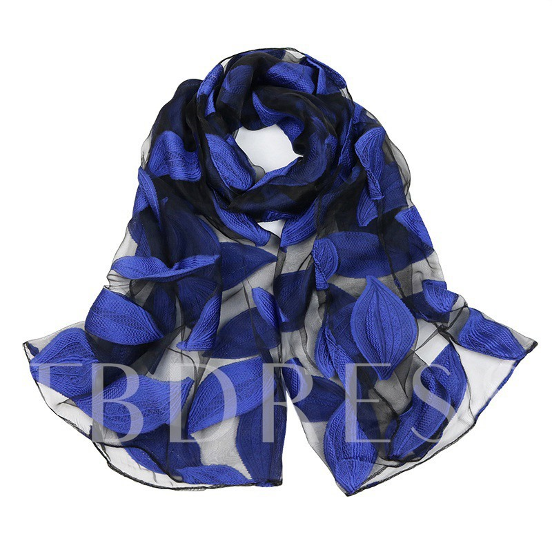 Flower Leaf Organza Korean Style Scarfs