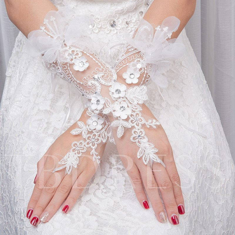 Flowers Appliques Fingerless Bridal Gloves
