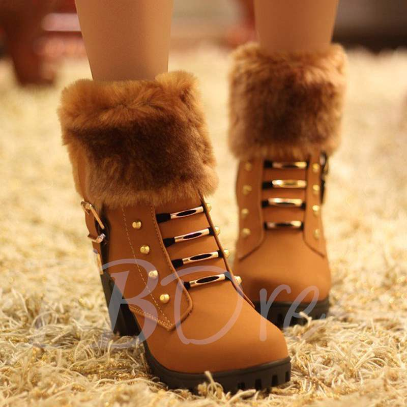 Nubuck Leather Zipper Warm Plush Ankle Boots for Women