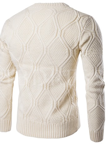 Solid Color Cotton Blends Round Neck Men's Sweater