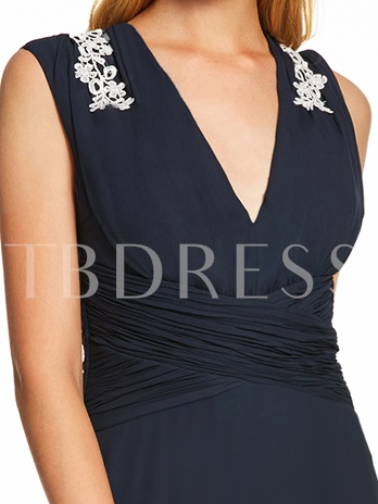 V Neck Appliques Pleats A Line Evening Dress