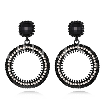 Square Diamante Round Hollow Out Earrings