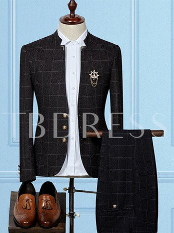 Stand Collar Single-Breasted Plaid Slim Fit Men's Dress Suit