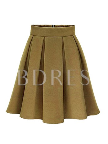 Plus Size Pleated Patchwork A-Line Women's Skirt