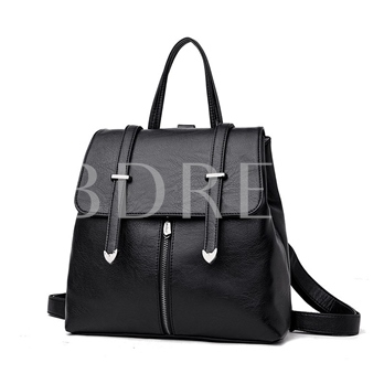 Preppy Chic Solid Color Soft PU Women Backpack