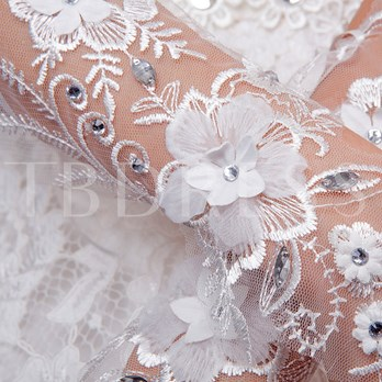Appliques Beading Fingerless Wedding Gloves