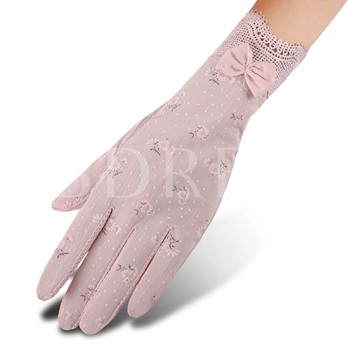 Lace Touch Screen Sun Block Printing Gloves