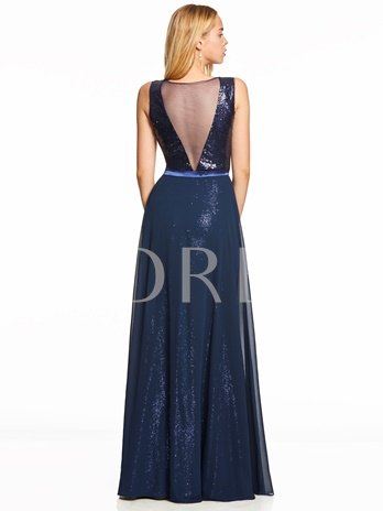 Scoop Sequins A Line Evening Dress