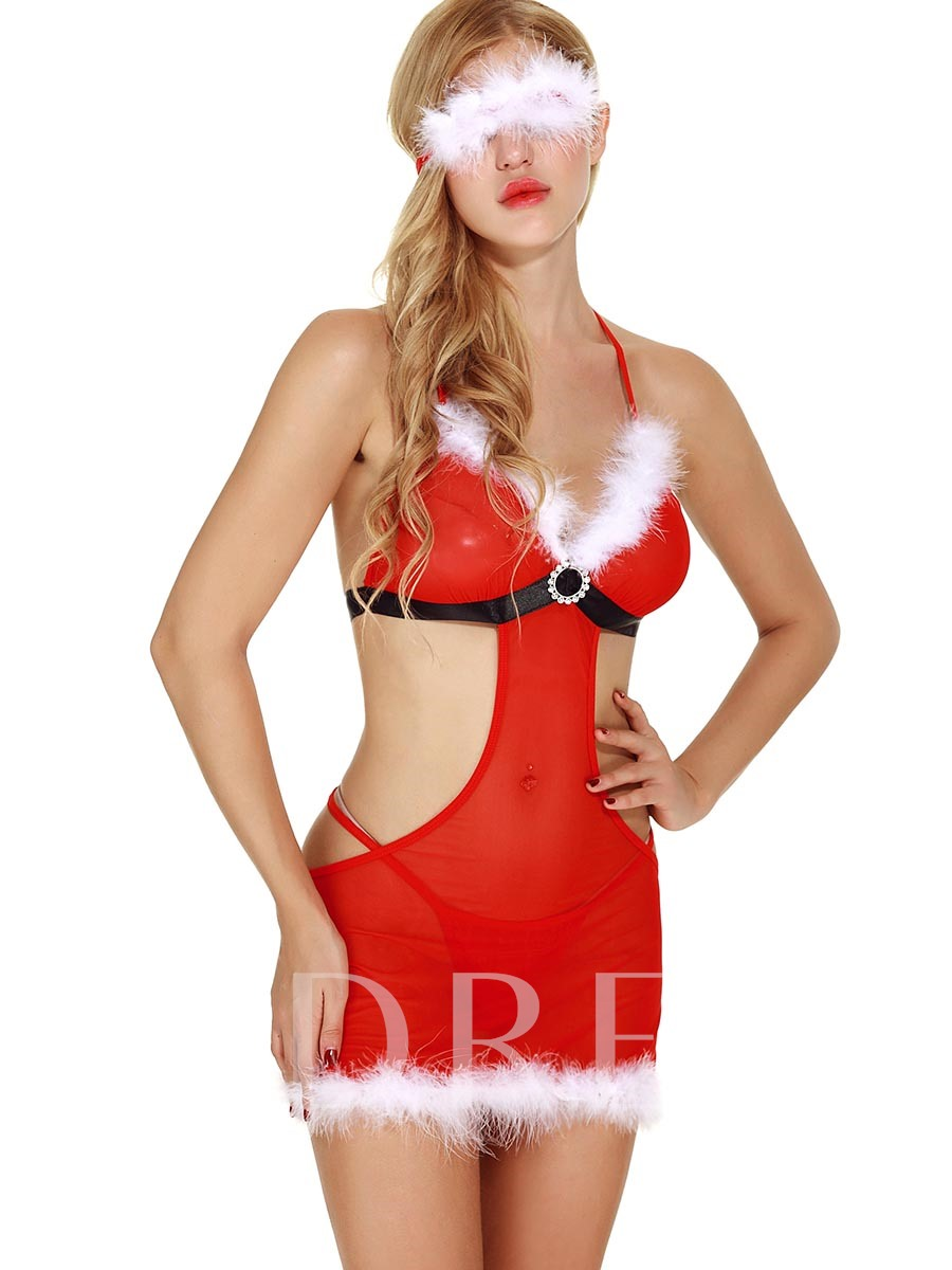 Backless Lace-Up Charming Mesh Christmas Costume