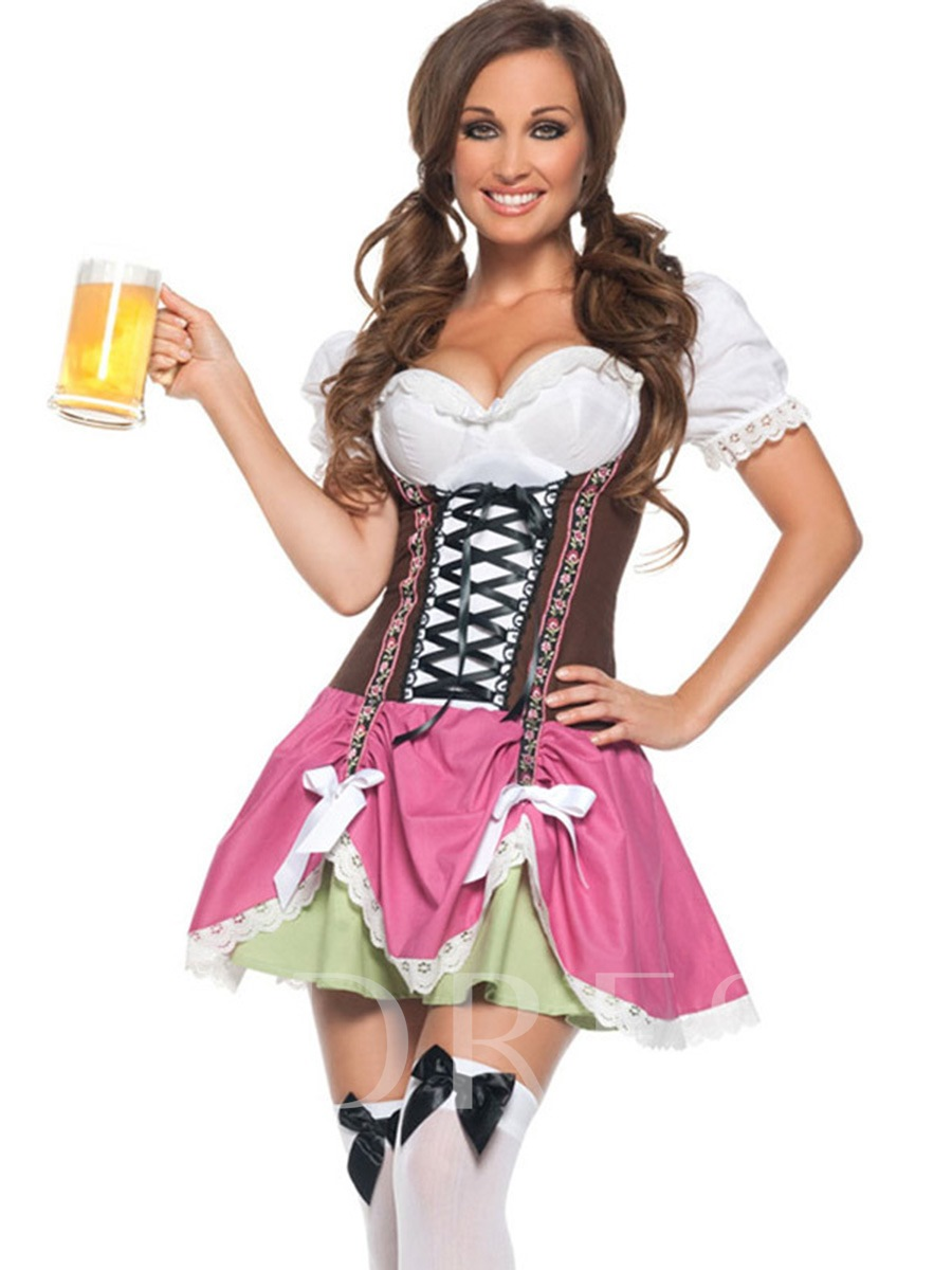 Sweet Lace-Up Bowknot French Maid Costume
