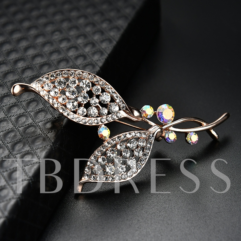 Hollow Out Leaf Shaped Rhinestone Women's Brooches