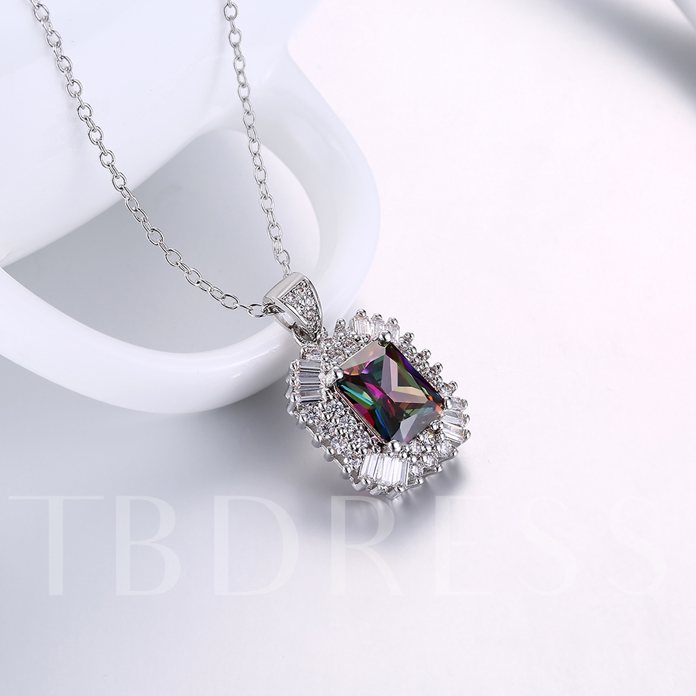 Full Drill Rectangle Overgild Link Chian European Necklace