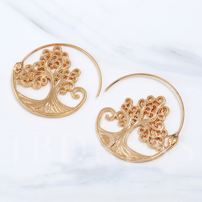 Carving Alloy Round Hollow Out Tree Earrings