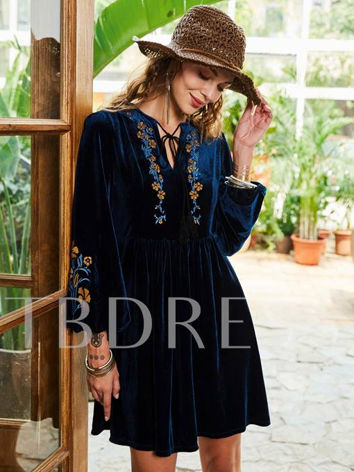 Dark Blue Velvet Women's Day Dress
