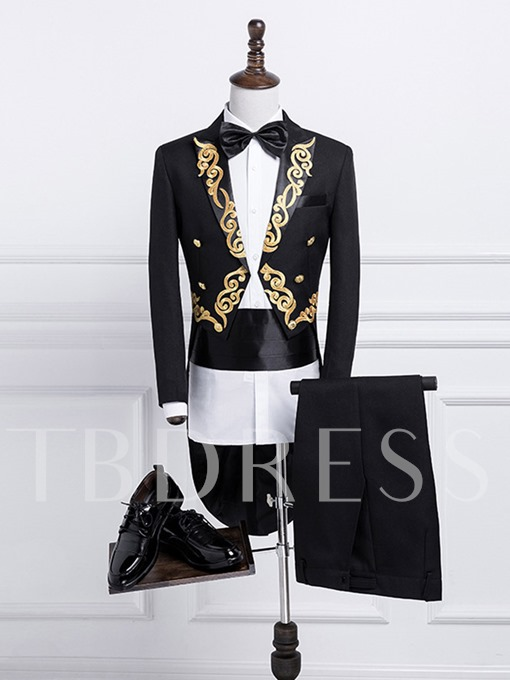 Golden Printed Swallow-Tailed Slim Fit Men's Dress Suit