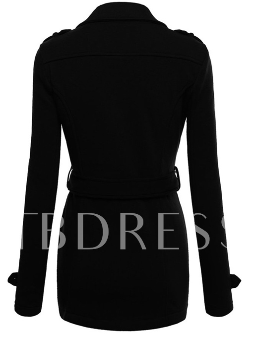 Lapel Double-breasted Mid-length with Belt Women's Overcoat
