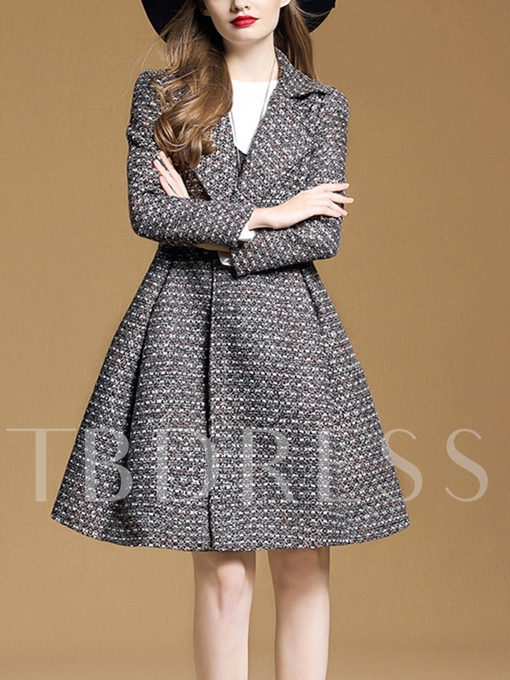 Mid-Length Button Up Hemline Women's Overcoat