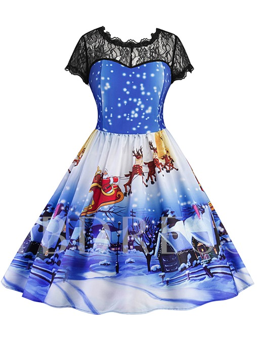 Blue Plus Size Christmas Pattern Women's Day Dress