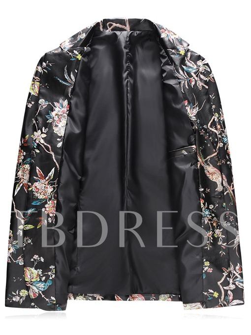 Notched Collar One Button Floral Printed Slim Fit Men's Blazer