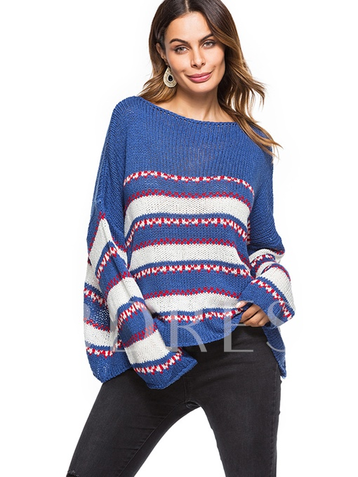 Color Block Pullover Round Neck Women's Sweater