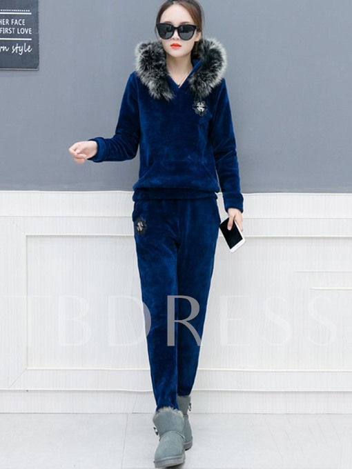 Thicker Pure Color Women's Hooded Pants Suit
