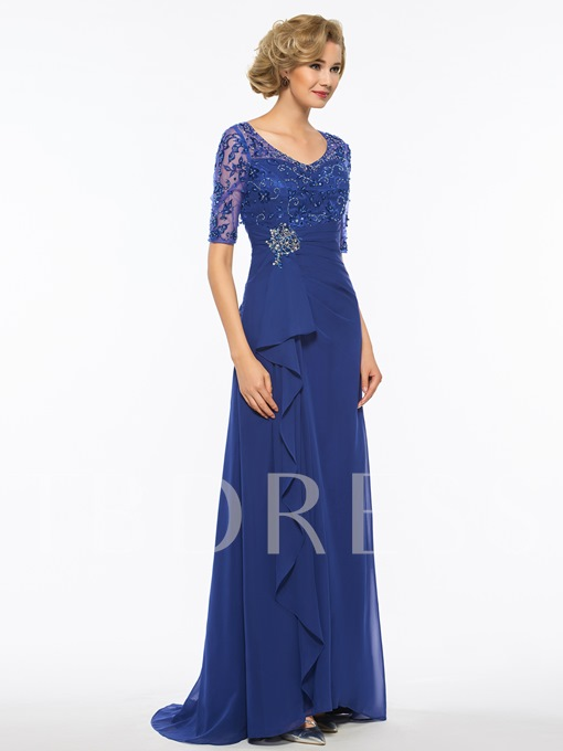 Half Sleeve Beading Embroidery Mother Of The Bride Dress