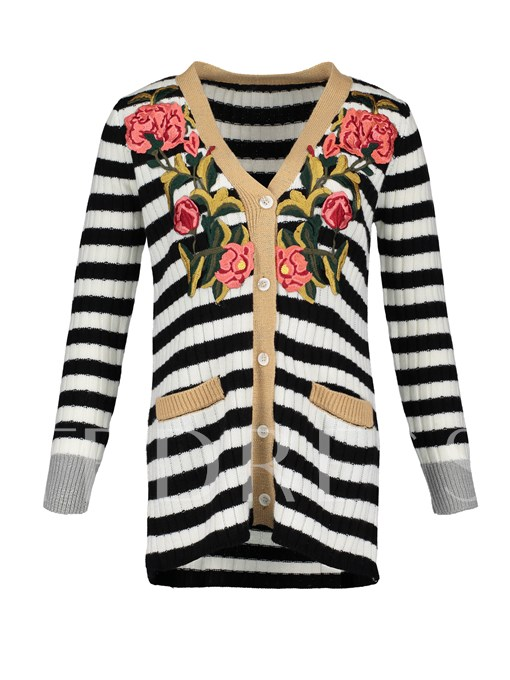 V-Neck Color Block Stripe Floral Embroideried Vacation Women's Knitwear
